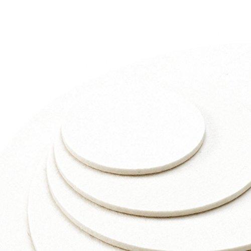 Dessous de verre Set de table Soucoupe ronde Couleur en blanc 100% mérinos feutre 5 mm, feutrine, woll weiss, Ø 10 cm