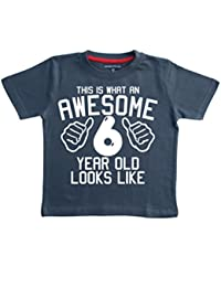 Edward Sinclair This What an Awesome 6 Year Old Looks Like Navy Boys 6th Birthday T-Shirt in Size 7-8 Years with A White Print T-Shirt