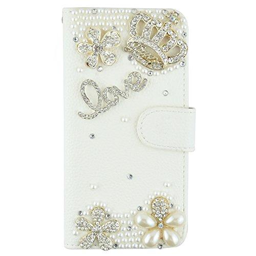 iPhone 6Plus Coque, Jcmax Premium 3d Bling Cristal Diamant Jewel PU Cuir Portefeuille Coque [Béquille] avec support [carte slots] [Fermeture magnétique] pour Apple iPhone 6Plus (14cm) -