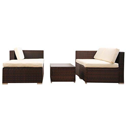 (6034) POLY RATTAN Lounge Braun Gartenset Sofa Garnitur Polyrattan Gartenmöbel -