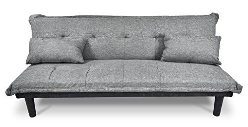 Divano letto clic clac in tessuto grigio chiaro - divanetto mod. russell
