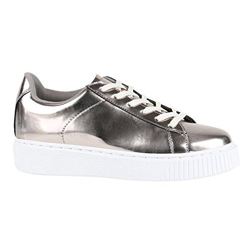 Damen Sneakers Basic Sportschuhe Schnürer Lederoptik Schuhe Grau Metallic