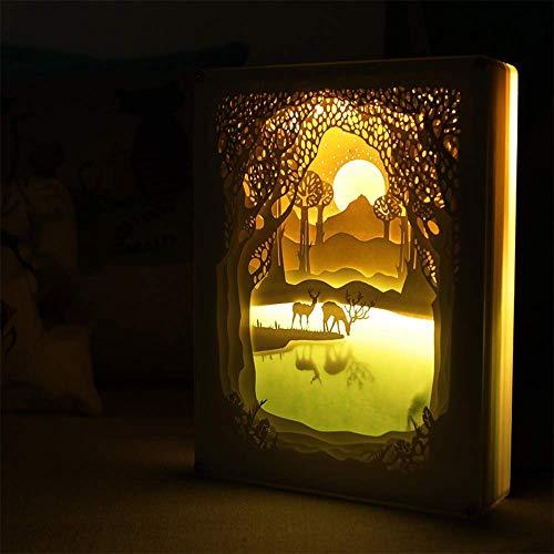 cht Nacht Lampe, Kreative Remote-Papier-Cut Light Box Schatten Licht Warme Atmosphäre Für Halloween Weihnachten ()