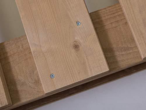 PALETTI Massivholzbett Holzbett Palettenbett Bett aus Paletten – Rustikal gebeizt - 5