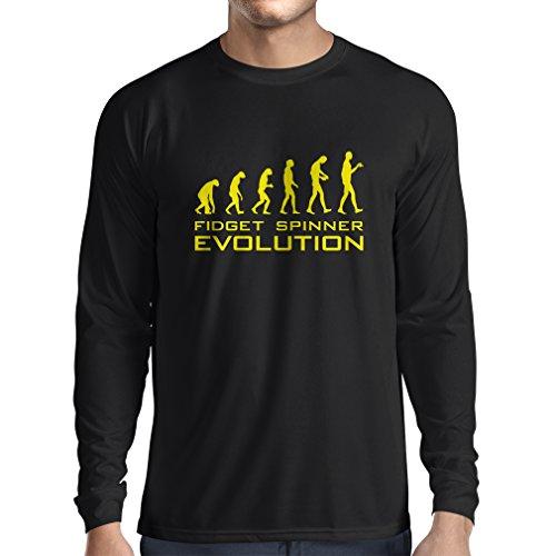 Langarm Herren t shirts Die Evolution - Fidget Spinner Schwarz Gelb