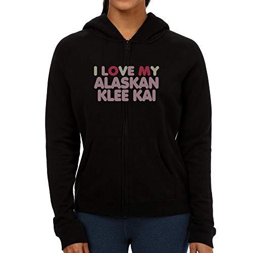 Idakoos I Love My Alaskan Klee Kai Tricolor Damen Kapuzenjacke M Klee Zip Hoodie