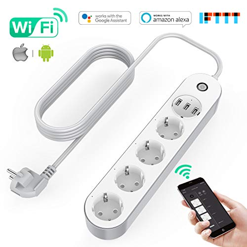 KinCam Power strip WiFi Electric Power Strip, Smart Power Strip with 4 Sockets and 3 USB, Supports Voice Control / Remote Control / Timer for App, Compatible with Alexa Google Home and IFTTT Multiplex Smart