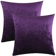 2 Stück Kissenbezug Kissenhülle 40 x 60 cm lila Uni Baumwolle
