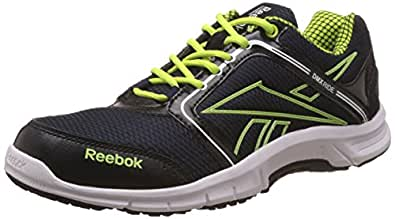 Reebok Men's Run Stream Blue,Black, Yellow,Silver And White Running Shoes - 11 UK