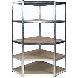 Rayonnage robuste en acier galvanisé d'angle pour étagères de garage pour tablettes d'angle, 175 kg (5 niveaux: 1800 mm H x 900 mm / 698 mm L x 400 mm P)
