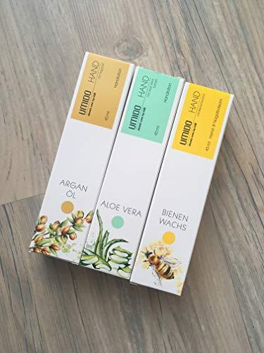 UMIDO Handlotion Pflegeset - Aloe Vera, Arganöl und Bienenwachs. Schenkt der Haut samtweiche Pflege und bereitet ein zartes, geschmeidiges Hautgefühl. Zieht schnell ein und fettet nicht.