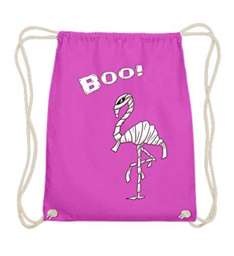 Boo! Buh! Lustiges Halloween Motiv für Flamingo Liebhaber - Flamungo im Mumien Kostüm - Baumwoll Gymsac