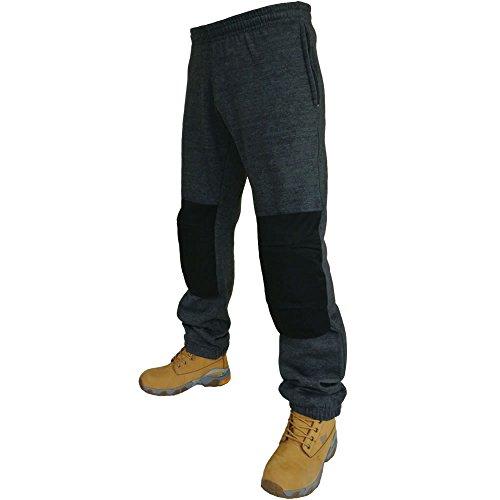 Fleece Jogginghose für Herren mit Taschen und elastischem Beinabschluss, Hosen für Arbeit/Joggen inklusive Knieschoner Gr. M, CHARCOAL GREY / BLACK - Dickies-elastische Taille Hose