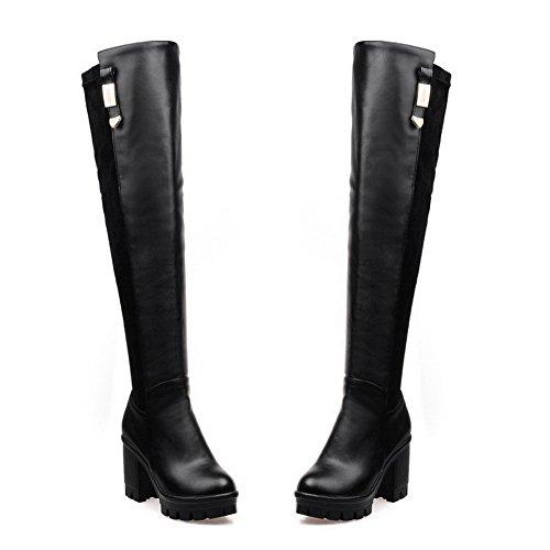 AgooLar Damen Hoher Absatz Rund Zehe Blend-Materialien Schnüren Stiefel, Schwarz, 38