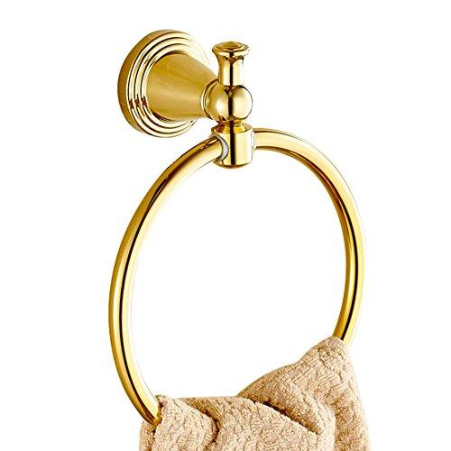 CASEWIND Rund Handtuchring Handtuchhalter, Badezimmer Accessoires besteht aus Messing Poliert Gold finished Luxus Opulent Stil Wandmontieren Bohren (Handtuchhalter Messing Poliert)