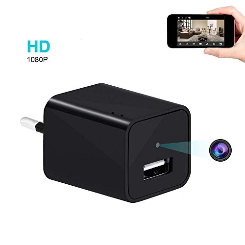 Mini Wifi Kamera, UYIKOO Portable Kleine Kamera 1080P HD AC Adapter Kamera USB Charger Kamera mit Bewegungsmelder für Home Security Nanny Cam Unterstützung IOS/Android