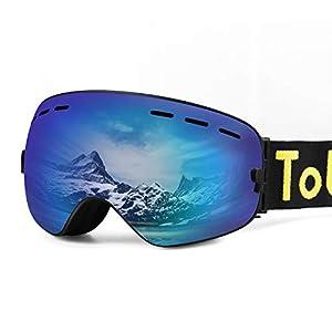 Tobbiheim Skibrille, Snowboard Brille Austauschbar Linse UV400 Schutz Anti Beschlag Verbesserte Belüftung für Damen, Männer, Jungend und Brillenträger