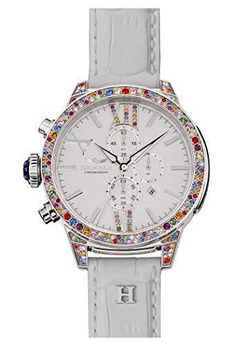 HÆMMER Spring Damenuhr aus Edelstahl | Exklusiv Limitierte Damen-Uhr mit weißem Kalbsleder Armband | Luxus-Uhr mit bunten Swarovski-Kristallen