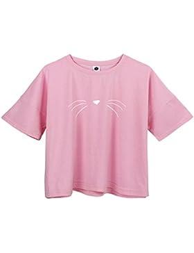 BLACKMYTH Mujer Casual Suelta Crop T-shirt Manga Corta Gracioso Camisetas Para Estampar