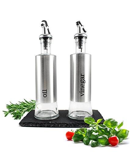 Öl und Essig Set auf Schieferplatte Ölspender Essigspender Menage Ölflasche