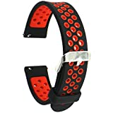 Elespoto 18mm Bracelets de Montres Band Strap de Remplacement Watchband Rechange Bande pour Huawei Watch W1 / Nokia Health Watch/Huawei Fit / Withings Activite and 18MM Watch Bracelet (Black Red)