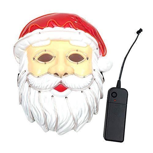 Tianzhiyi Weihnachtsdekoration Weihnachtsmann LED Maske, Draht Leuchtend Leuchten Cool Blinkende Kostüm Gesichtsmaske Weihnachtsdekoration für Festival, Cosplay