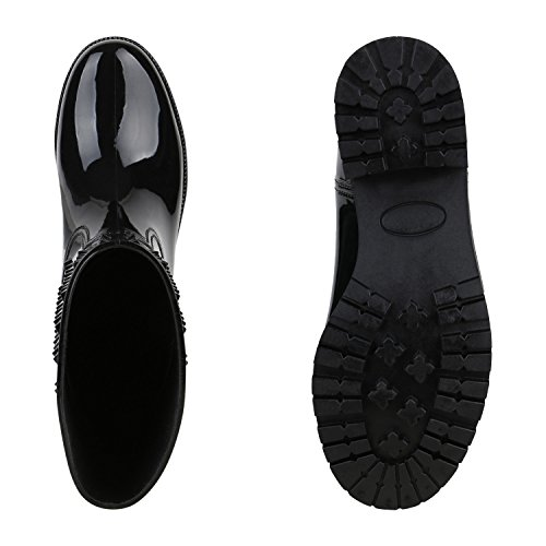 Galocha Rebites Senhoras Preta Chuva Botas Sapatos Botas Polonês De dn4n0q