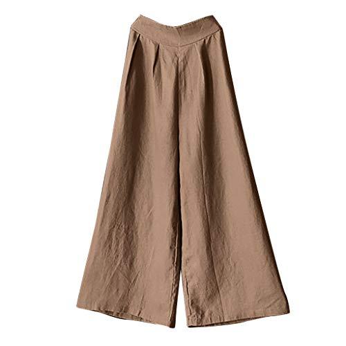 WOZOW Stoffhose Damen Weites Bein Palazzo Hosen Anzughose Loose Casual Bettwäsche Baumwolle Solid Einfarbig Long Mid Waist Arbeitskleidung Soft Bequem Trousers (2XL,Khaki) (Halloween-kostüme Für Hunde Tumblr)