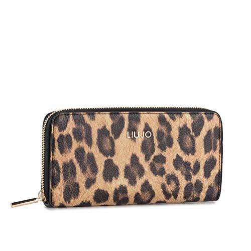Portafoglio donna liu-jo zip around xl in ecopelle leopardo marrone a20lj07