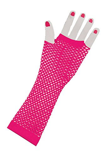 Forum Novelties Inc. Lange fingerlose Fischnetz Kostüm Handschuhe für Erwachsene pink