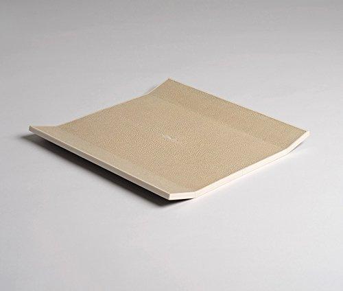 Amaris Elements | Plateau 'Nando' Raie cuir, plateau, avec plateau cuir bezogene, beige, crème, 27 x 27 x H3 cm