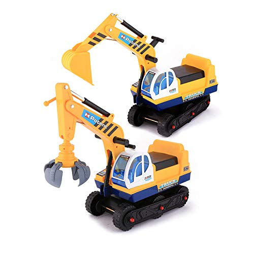 OUTCAMER 2 in 1 Ride On Toy Digger Excavator for kids, Grabber Bulldozer with Helmet, Best Gift for Childs