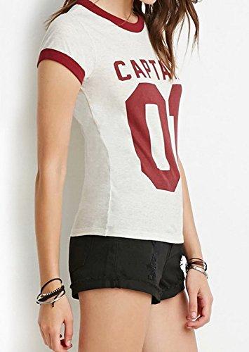 Smile YKK Femme Fashion T-Shirt Rond Col Numéro Causal Loose Tops Gilet Slim Blanc