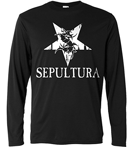 T-shirt a manica lunga Uomo - Sepultura - white logo - Long Sleeve 100% cotone LaMAGLIERIA, L, Nero