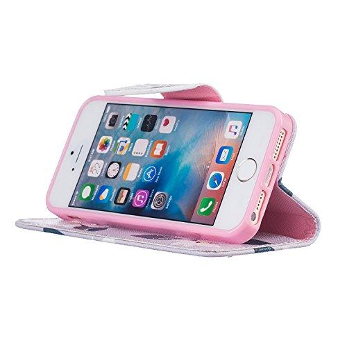 Voguecase® für Apple iPhone 7 hülle,(New York 01) Kunstleder Tasche PU Schutzhülle Tasche Leder Brieftasche Hülle Case Cover + Gratis Universal Eingabestift Lila/Pink Blume