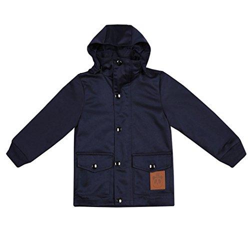 VENMO Baby Hooded Coat Warm Strickjacke Kinder Oberbekleidung mit stehkragen Kinderjacke Full Zipper Jacke Hoodie Kapuzenjacke in Winterjacke Steppjacke Sweatjacke Wärmejacke (4T, Dark Blue) - 4t Jacke Jungen Leder