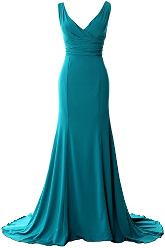 MACloth Elegant Mermaid V-Neck Simple Prom Dress Jersey Evening Formal Gown Teal