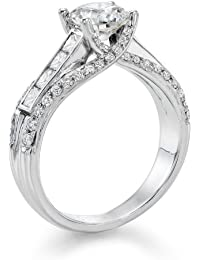 Diamant Ring 1.90 Ct W E/SI2 Round 18 Karat (750) Weißgold (Ringgröße 48-63)
