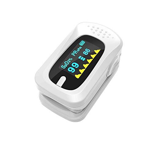 Finger Clip Oximeter, Blood Oxygen Saturation Monitor, Zwei-Farben-OLED-Display kommt mit Alarmsystem für Erwachsene und Kinder mit Lanyard,White ()