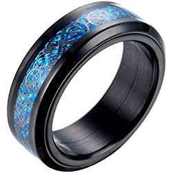 PAURO Hombre Acero Inoxidable Negro Celtic Dragon Azul Fibra De Carbono Inlay Giratorio Anillo 8mm Band Tamaño 27