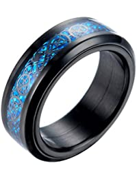 PAURO Men's Stainless Steel Black Dragon Blue Carbon Fiber Inlay Ring 8mm Band
