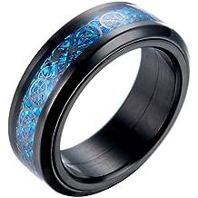 PAURO Hombre Acero Inoxidable Negro Celtic Dragon Azul Fibra De Carbono Inlay Giratorio Anillo 8mm Band