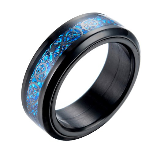 PAURO Hombre Acero Inoxidable Negro Celtic Dragon Azul Fibra De Carbono Inlay Giratorio Anillo 8mm Band Tamaño 14