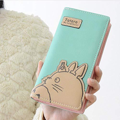 SWVV Anime Totoro Reißverschluss Cartoon Mode Frauen Lange Brieftasche Geldbörse Handtasche Geschenk, Grün -