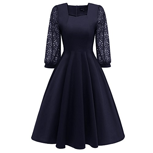 IMJONO Frauen Vintage Long Latern Ärmel Prinzessin Spitze Cocktail-Party Aline Swing Dress (EU-42/CN-2XL,Blau)
