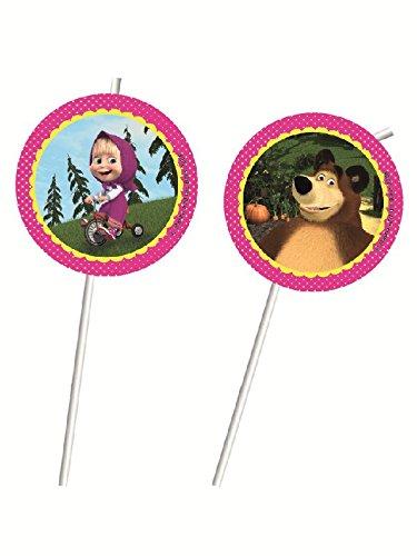 6pajitas * Masha y el oso * con adhesivo y Repliegue Cumpleaños para niños o fiesta temática//Niños Fiesta de cumpleaños Pajita temática marscha en The Bear Ruso