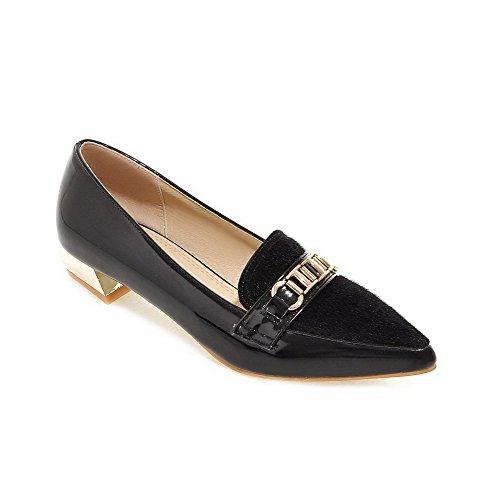 VogueZone009 Femme Pointu Fermeture D'Orteil à Talon Bas Verni Couleur Unie Tire Chaussures Légeres Noir