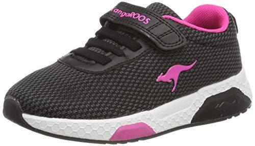 KangaROOS Unisex-Kinder Kadee Knit EV Sneaker, Schwarz (Jet Black/Daisy Pink), 34 EU -