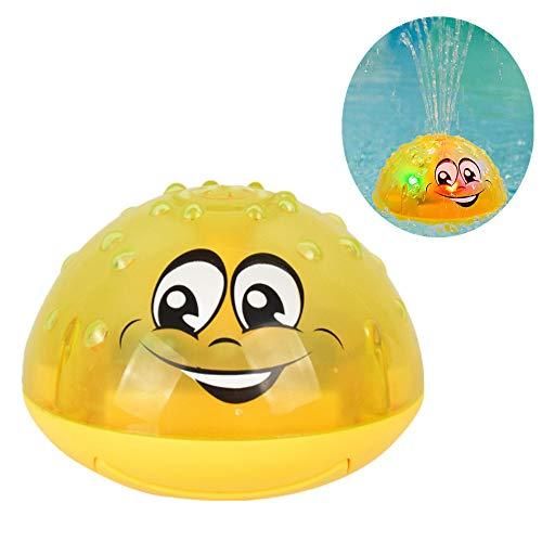 Finebuying Kinder Badespielzeug Sprinkler Toy Wasserspielzeug mit Musik & Lampe Badespray Spielzeug Automatische Induktions Sprinkler Babyspiel Badespielzeug für Dusche Schwimmbad (Gelb)