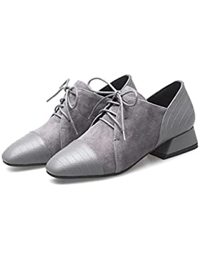 Beauqueen Oxford Lace-up Bombas Mary Janes Suede Square-Toe Chunky zapatos de tacón bajo Zapatos de UE Tamaño...